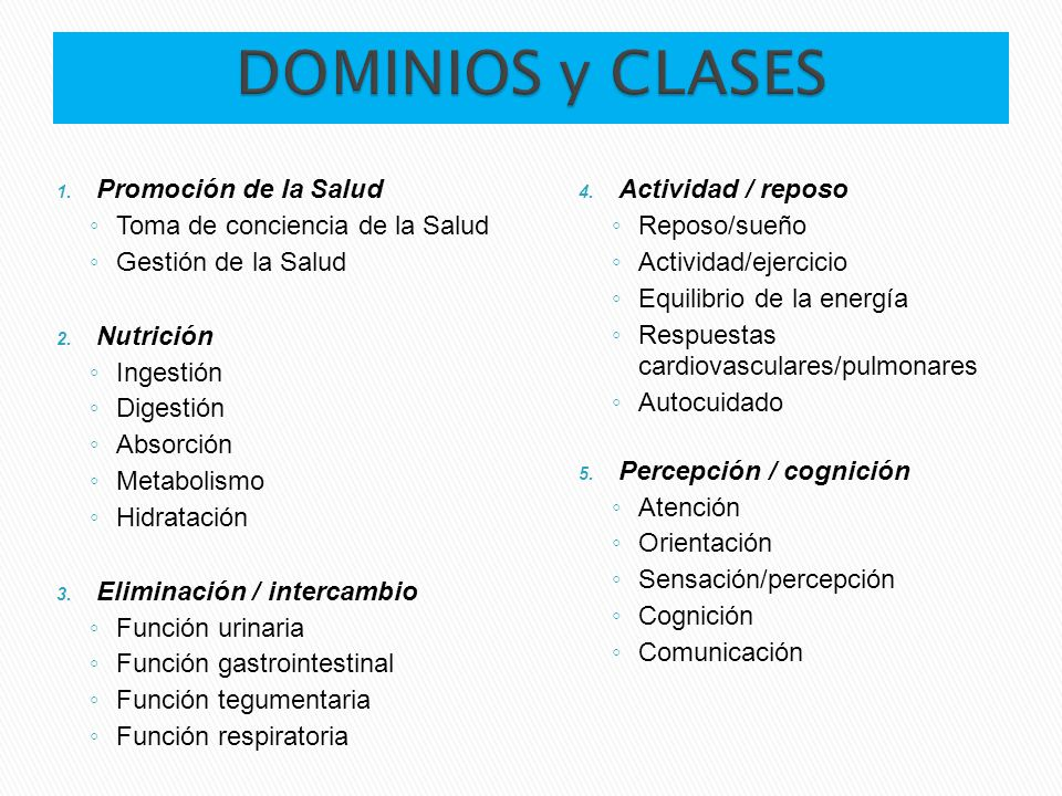 DOMINIOS y CLASES Promoción de la Salud Toma de conciencia de la Salud