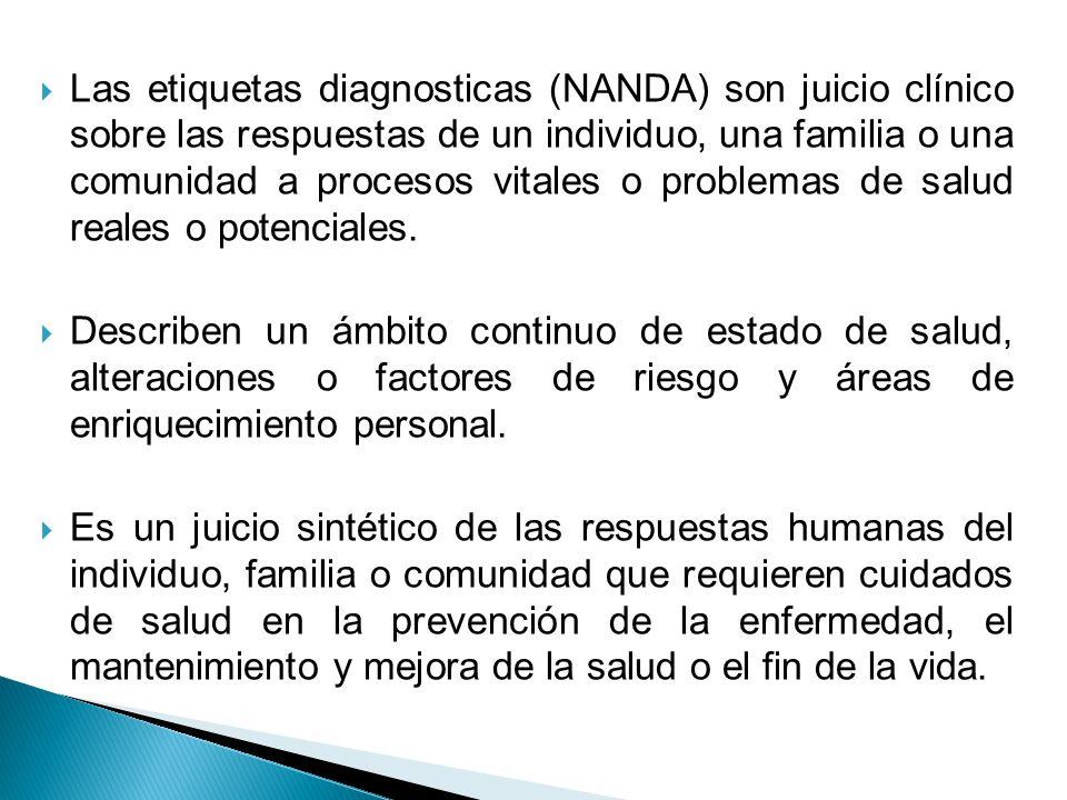 Las etiquetas diagnosticas (NANDA) son juicio clínico sobre las respuestas de un individuo, una familia o una comunidad a procesos vitales o problemas de salud reales o potenciales.