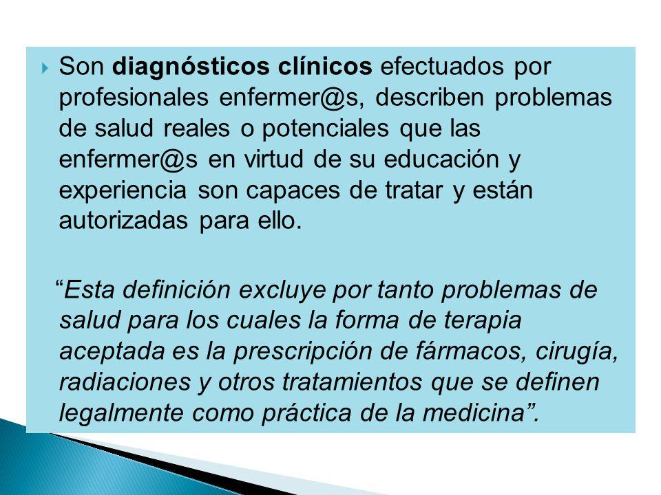 Son diagnósticos clínicos efectuados por profesionales enfermer@s, describen problemas de salud reales o potenciales que las enfermer@s en virtud de su educación y experiencia son capaces de tratar y están autorizadas para ello.