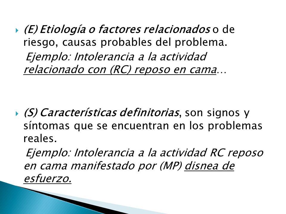 (E) Etiología o factores relacionados o de riesgo, causas probables del problema.