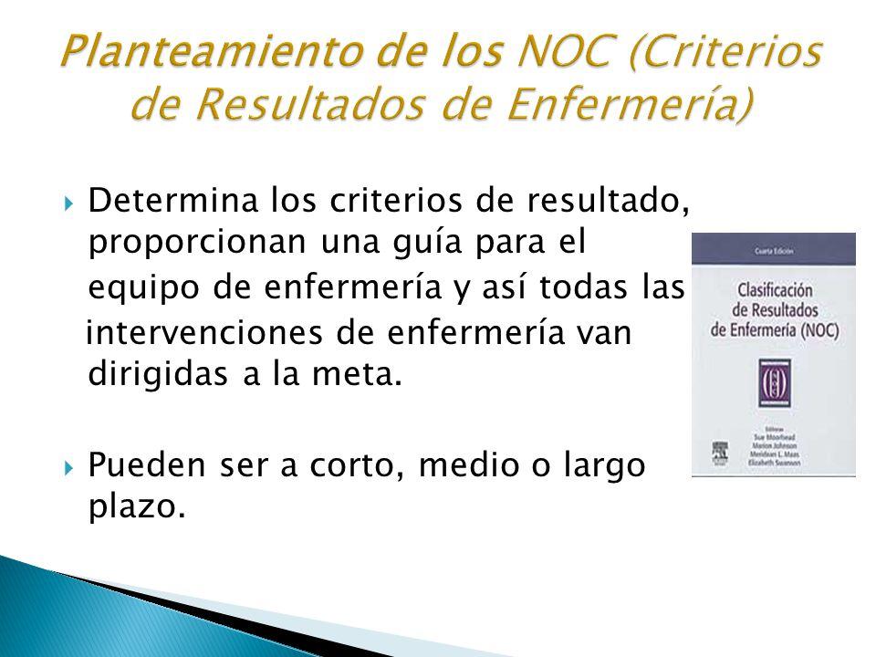 Planteamiento de los NOC (Criterios de Resultados de Enfermería)