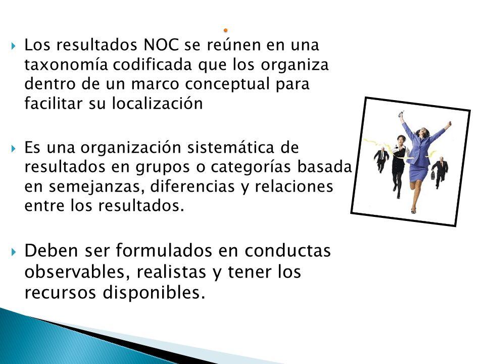 Los resultados NOC se reúnen en una taxonomía codificada que los organiza dentro de un marco conceptual para facilitar su localización
