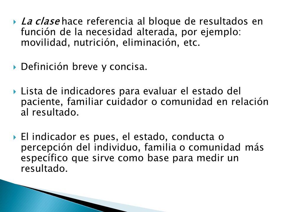 La clase hace referencia al bloque de resultados en función de la necesidad alterada, por ejemplo: movilidad, nutrición, eliminación, etc.