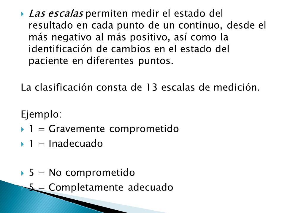 Las escalas permiten medir el estado del resultado en cada punto de un continuo, desde el más negativo al más positivo, así como la identificación de cambios en el estado del paciente en diferentes puntos.