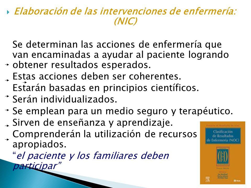 Elaboración de las intervenciones de enfermería: (NIC)