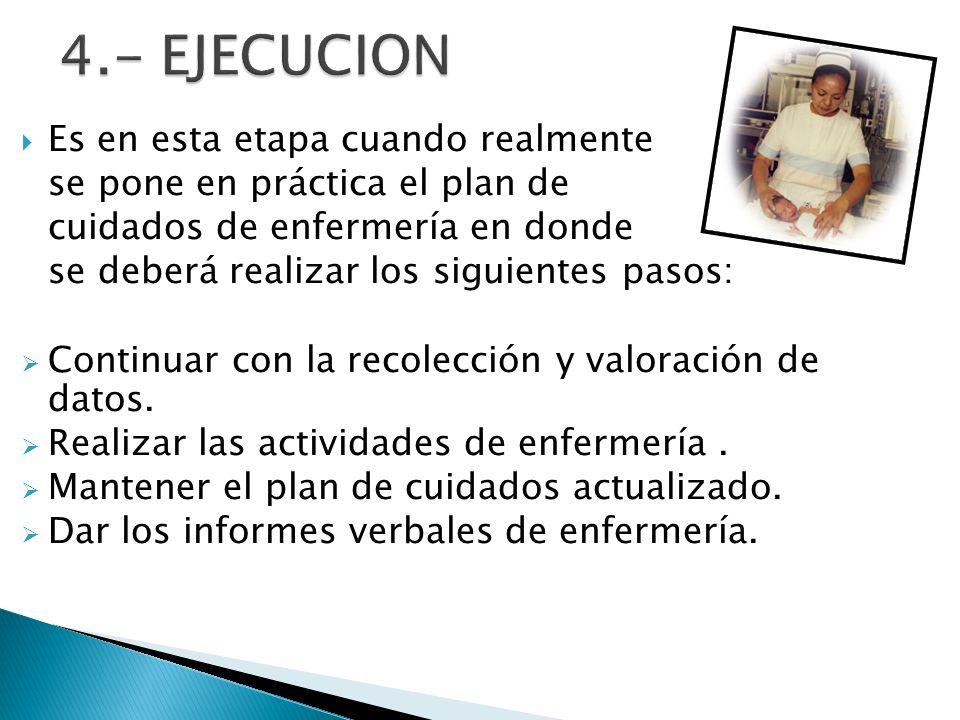 4.- EJECUCION Es en esta etapa cuando realmente