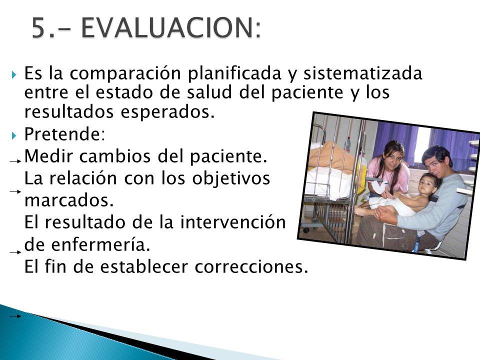 5.- EVALUACION: Es la comparación planificada y sistematizada entre el estado de salud del paciente y los resultados esperados.