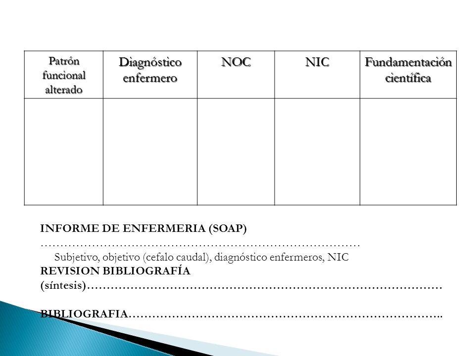 Diagnóstico enfermero NOC NIC Fundamentación científica