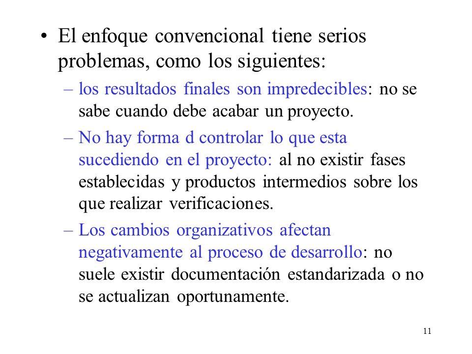 El enfoque convencional tiene serios problemas, como los siguientes: