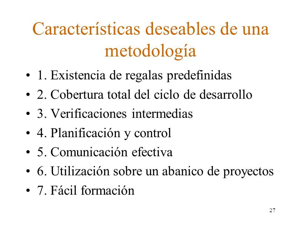 Características deseables de una metodología