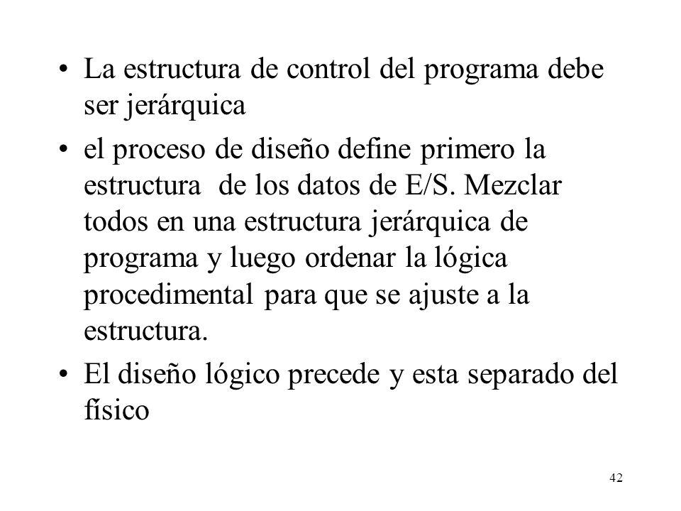 La estructura de control del programa debe ser jerárquica