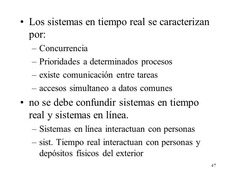 Los sistemas en tiempo real se caracterizan por: