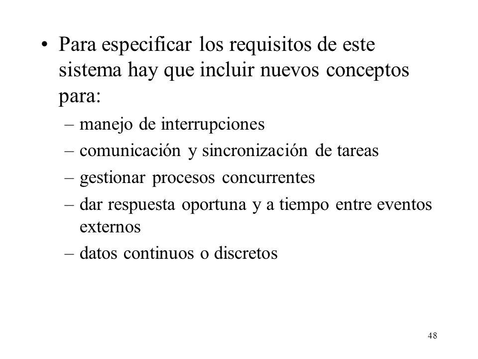 Para especificar los requisitos de este sistema hay que incluir nuevos conceptos para: