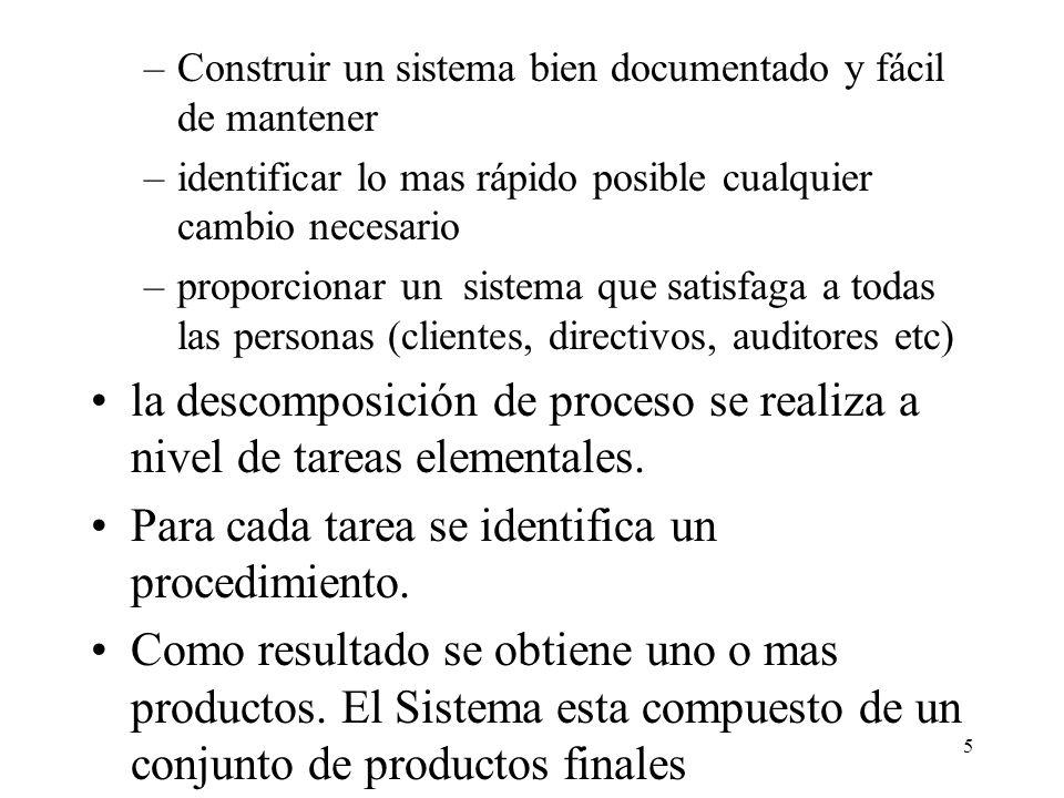 la descomposición de proceso se realiza a nivel de tareas elementales.