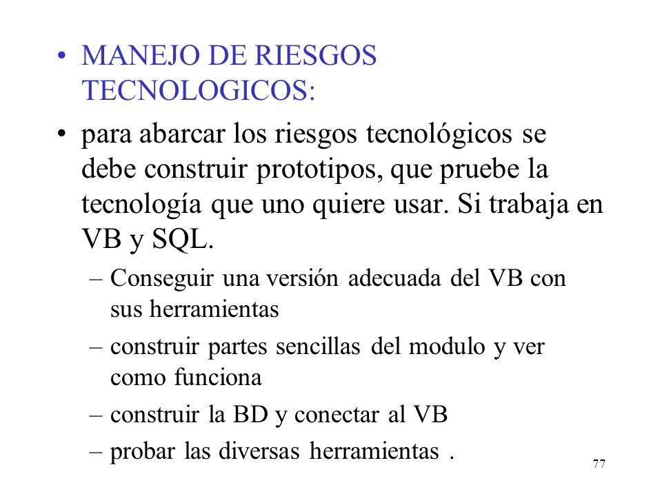 MANEJO DE RIESGOS TECNOLOGICOS: