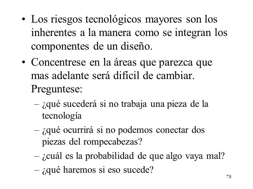 Los riesgos tecnológicos mayores son los inherentes a la manera como se integran los componentes de un diseño.