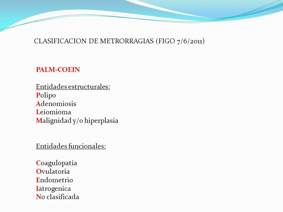 CLASIFICACION DE METRORRAGIAS (FIGO 7/6/2011)