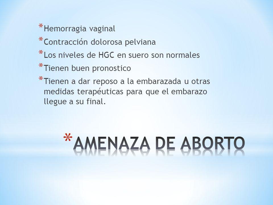 AMENAZA DE ABORTO Hemorragia vaginal Contracción dolorosa pelviana