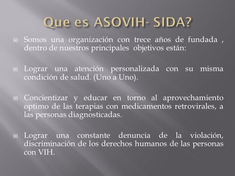 Que es ASOVIH- SIDA Somos una organización con trece años de fundada , dentro de nuestros principales objetivos están: