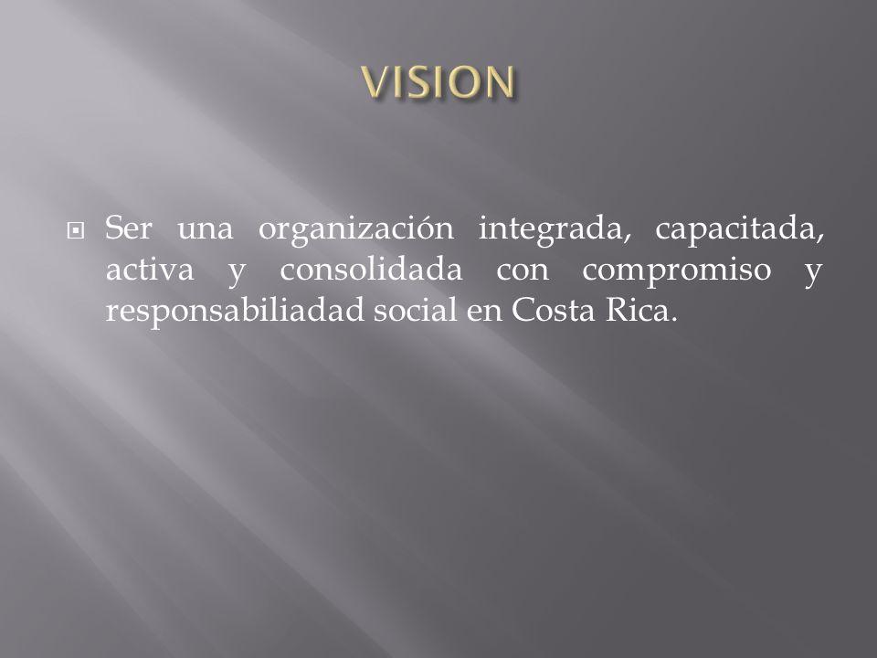 VISIONSer una organización integrada, capacitada, activa y consolidada con compromiso y responsabiliadad social en Costa Rica.