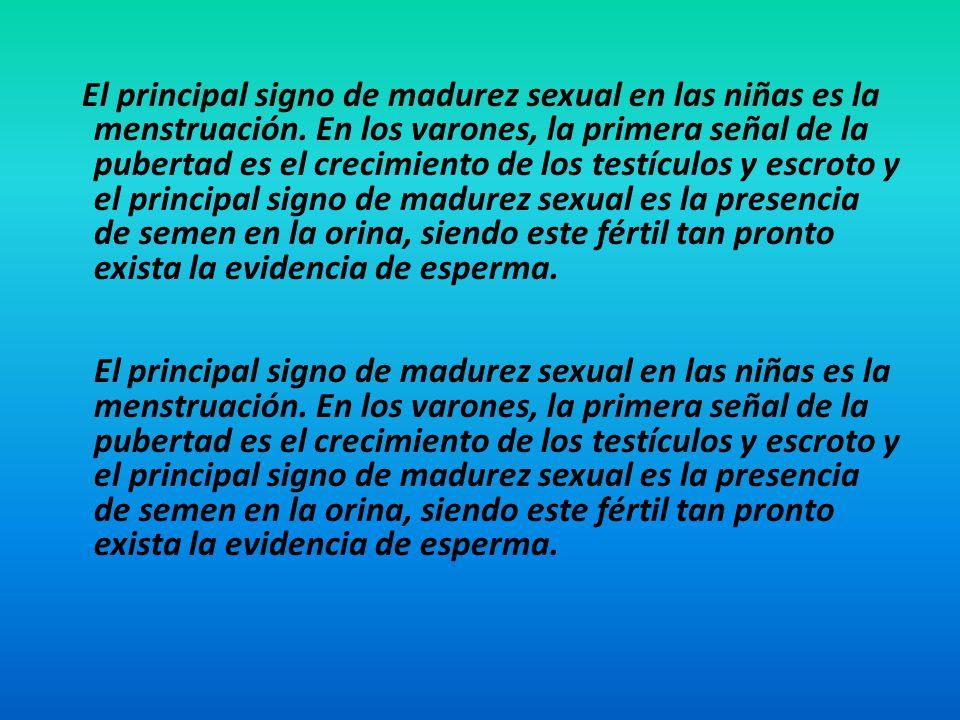 El principal signo de madurez sexual en las niñas es la menstruación