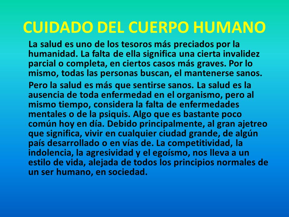 EL CUIDADO DEL CUERPO HUMANO Y LA SEXUALIDAD