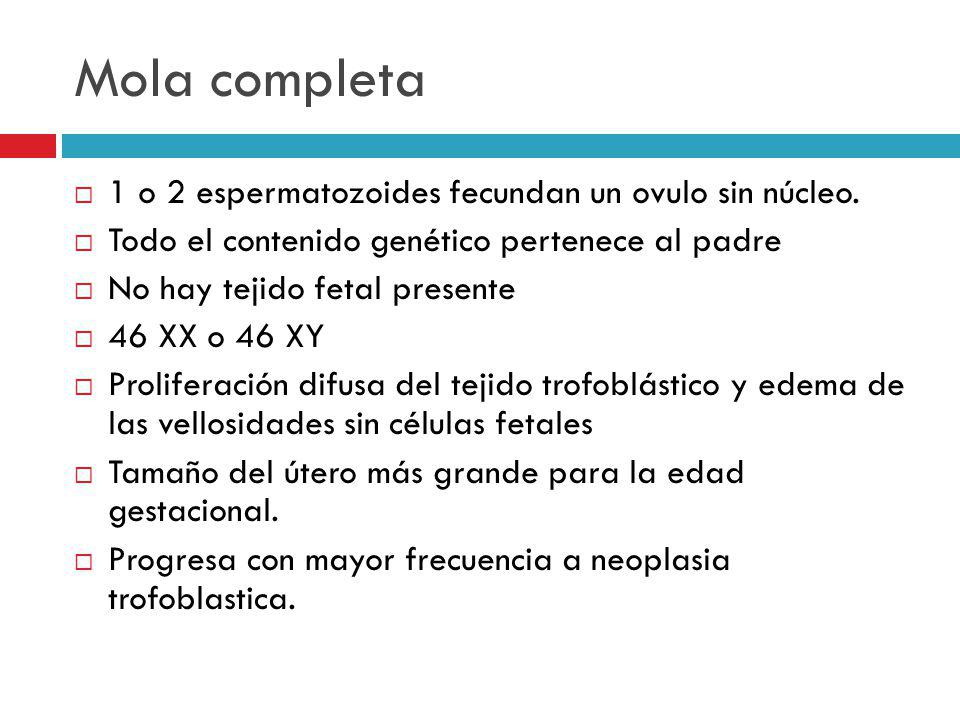 Mola completa 1 o 2 espermatozoides fecundan un ovulo sin núcleo.