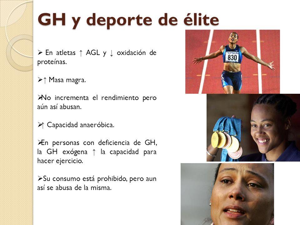 GH y deporte de élite En atletas ↑ AGL y ↓ oxidación de proteínas.