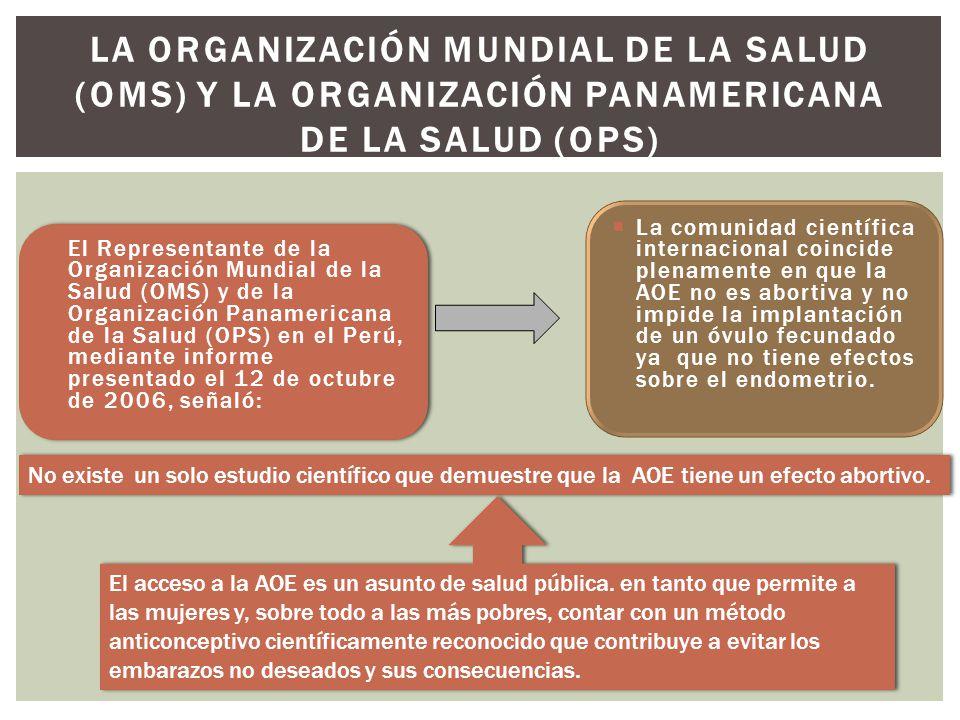 La Organización Mundial de la Salud (OMS) y la Organización Panamericana de la Salud (OPS)