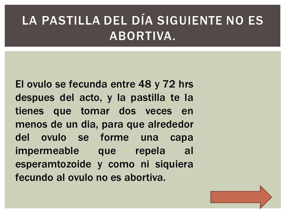 La pastilla del día siguiente no es abortiva.