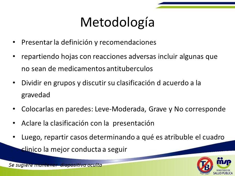 Metodología Presentar la definición y recomendaciones