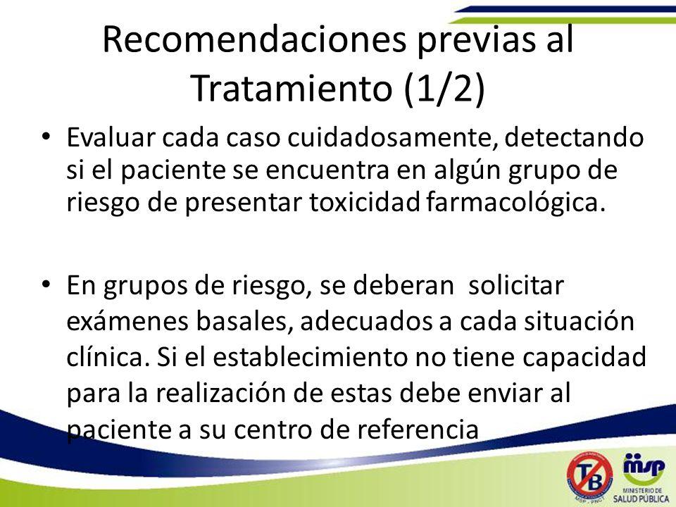 Recomendaciones previas al Tratamiento (1/2)