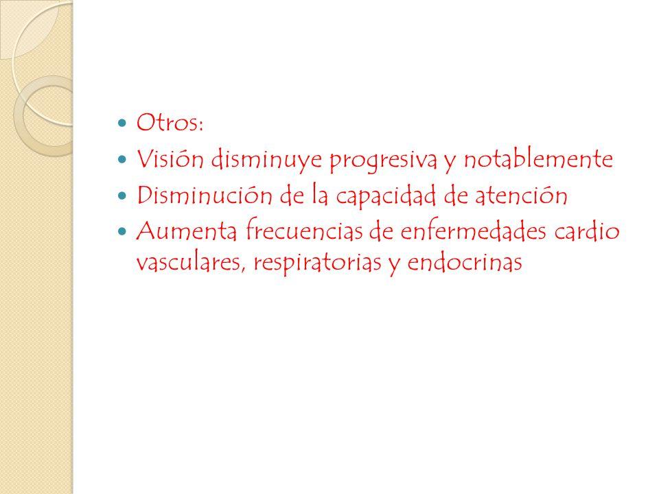 Otros: Visión disminuye progresiva y notablemente. Disminución de la capacidad de atención.