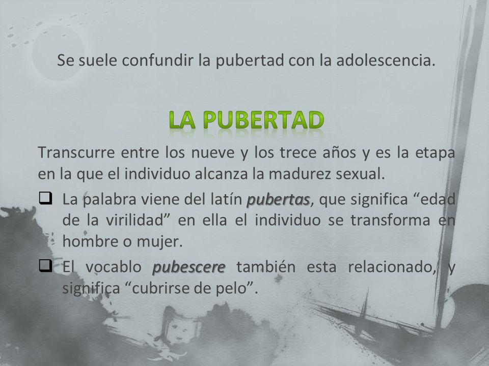Se suele confundir la pubertad con la adolescencia.