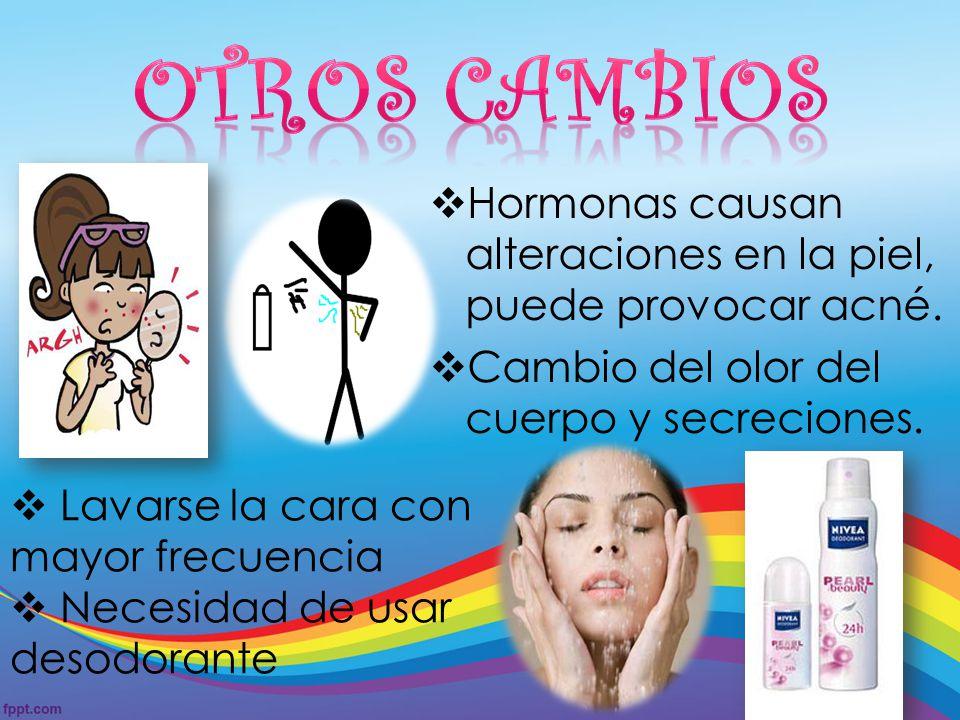 Otros Cambios Hormonas causan alteraciones en la piel, puede provocar acné. Cambio del olor del cuerpo y secreciones.