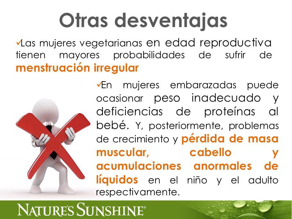 Otras desventajas Las mujeres vegetarianas en edad reproductiva tienen mayores probabilidades de sufrir de menstruación irregular.