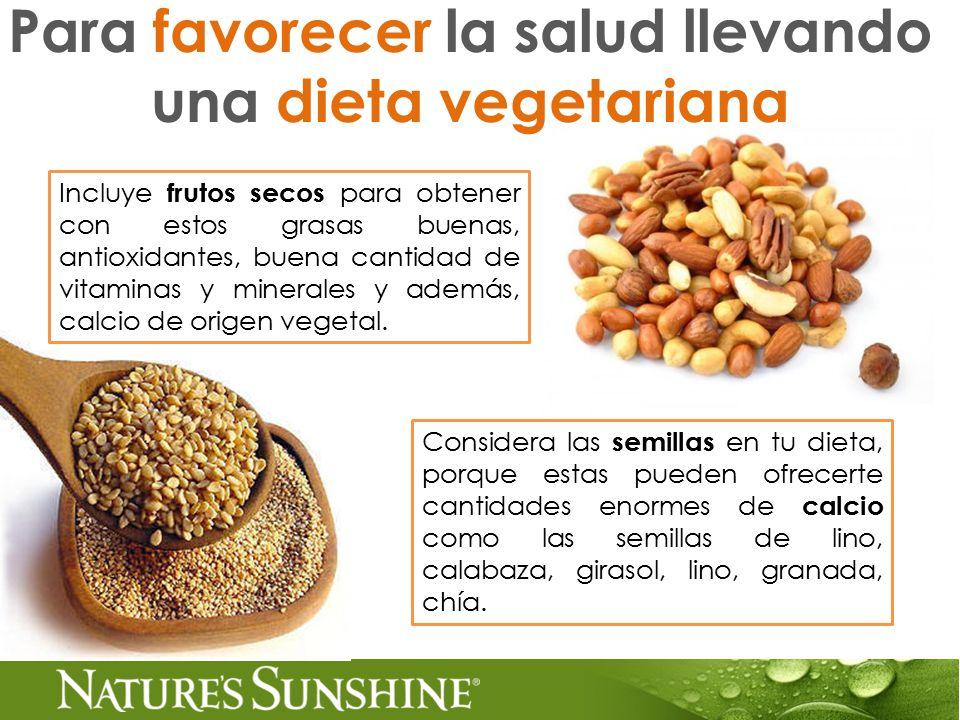 Para favorecer la salud llevando una dieta vegetariana