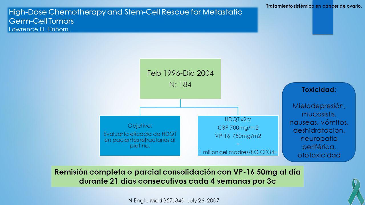 Tratamiento sistémico en cáncer de ovario.