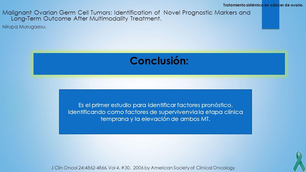 Es el primer estudio para identificar factores pronóstico.
