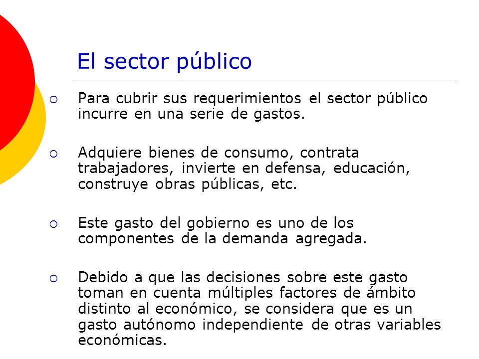 El sector público Para cubrir sus requerimientos el sector público incurre en una serie de gastos.