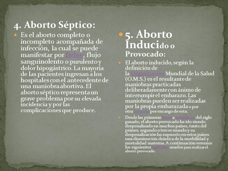 5. Aborto Inducido o Provocado: