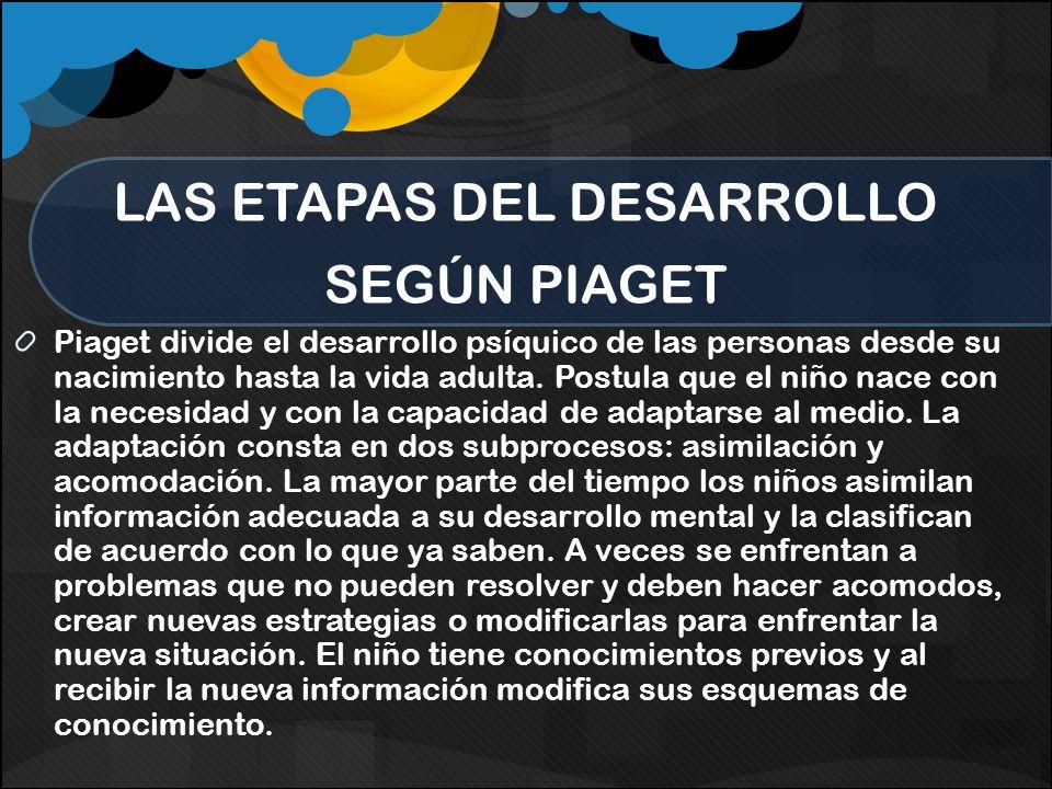 LAS ETAPAS DEL DESARROLLO SEGÚN PIAGET