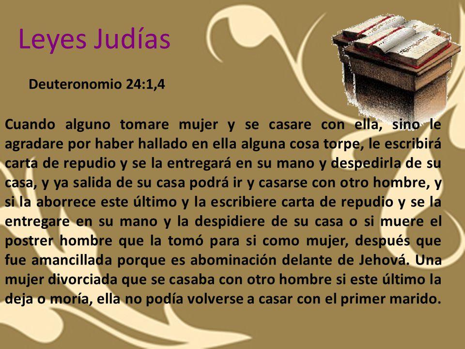 Leyes Judías Deuteronomio 24:1,4.