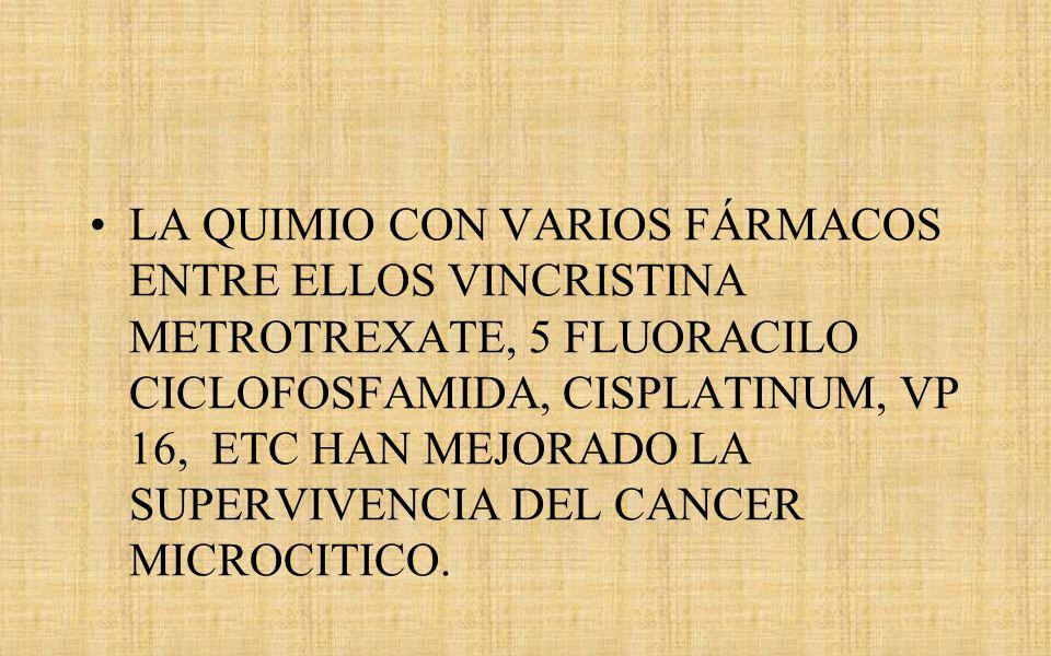 LA QUIMIO CON VARIOS FÁRMACOS ENTRE ELLOS VINCRISTINA METROTREXATE, 5 FLUORACILO CICLOFOSFAMIDA, CISPLATINUM, VP 16, ETC HAN MEJORADO LA SUPERVIVENCIA DEL CANCER MICROCITICO.