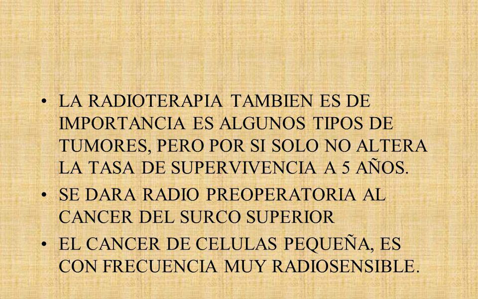 LA RADIOTERAPIA TAMBIEN ES DE IMPORTANCIA ES ALGUNOS TIPOS DE TUMORES, PERO POR SI SOLO NO ALTERA LA TASA DE SUPERVIVENCIA A 5 AÑOS.