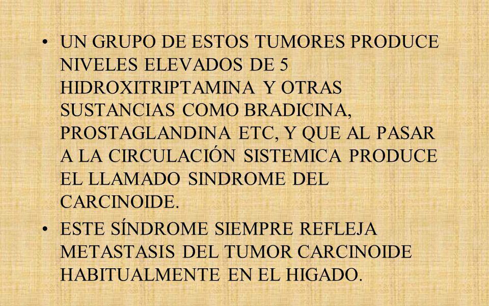 UN GRUPO DE ESTOS TUMORES PRODUCE NIVELES ELEVADOS DE 5 HIDROXITRIPTAMINA Y OTRAS SUSTANCIAS COMO BRADICINA, PROSTAGLANDINA ETC, Y QUE AL PASAR A LA CIRCULACIÓN SISTEMICA PRODUCE EL LLAMADO SINDROME DEL CARCINOIDE.