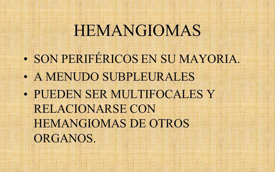 HEMANGIOMAS SON PERIFÉRICOS EN SU MAYORIA. A MENUDO SUBPLEURALES