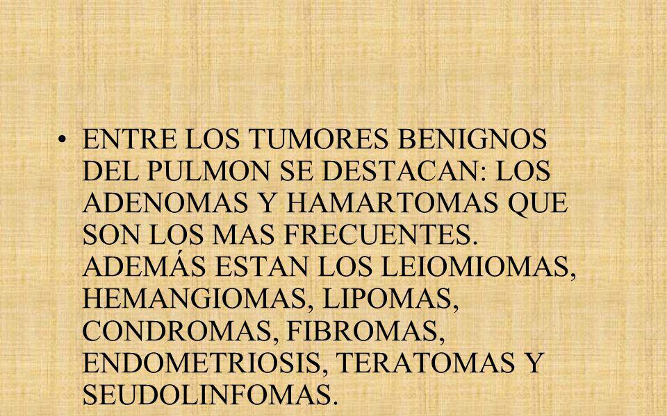 ENTRE LOS TUMORES BENIGNOS DEL PULMON SE DESTACAN: LOS ADENOMAS Y HAMARTOMAS QUE SON LOS MAS FRECUENTES.