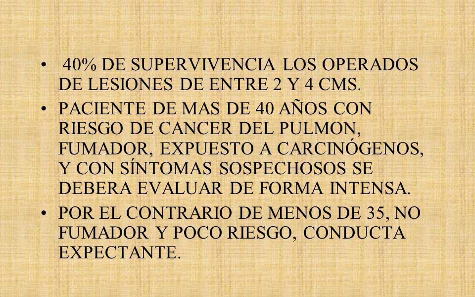 40% DE SUPERVIVENCIA LOS OPERADOS DE LESIONES DE ENTRE 2 Y 4 CMS.
