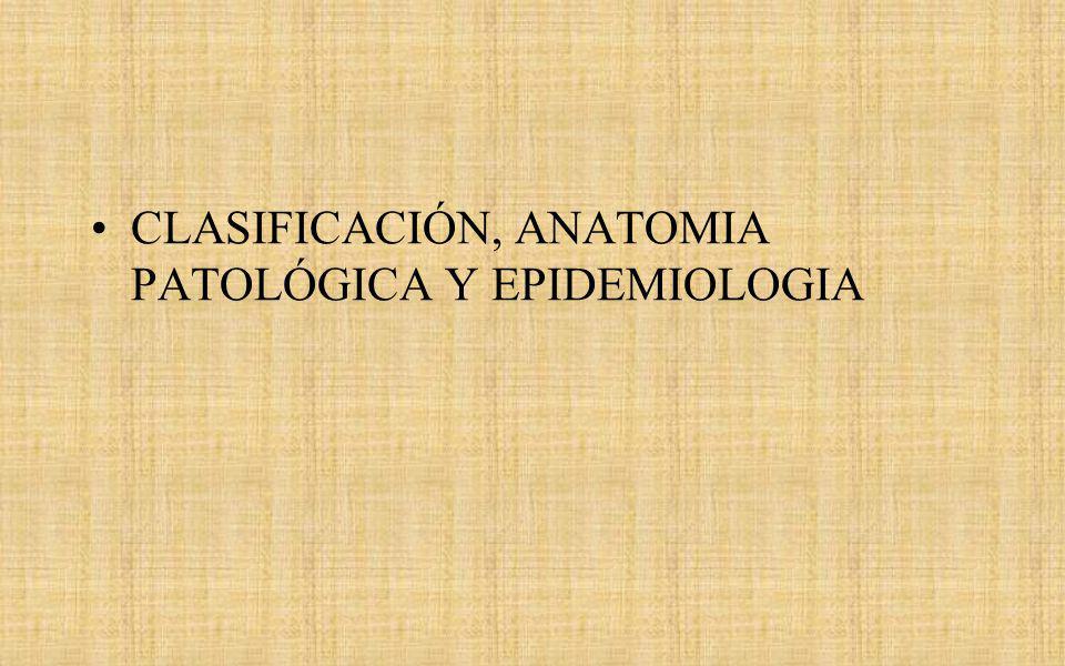 CLASIFICACIÓN, ANATOMIA PATOLÓGICA Y EPIDEMIOLOGIA
